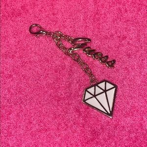 """Gold """"GUESS"""" keychain with """"GUESS"""" & diamond charm"""